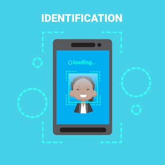 Smart phone loading face identification system scanning african american female user access control