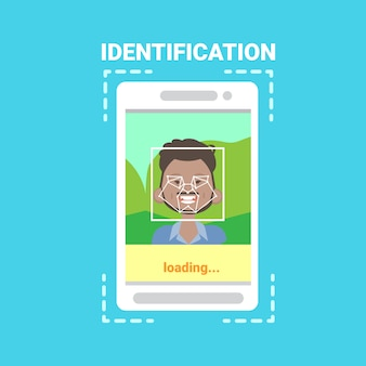 Smart phone loading face identification system scanning african american man user access control