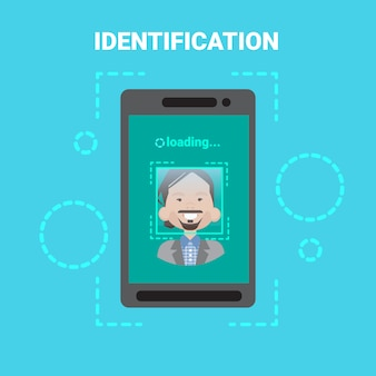 Smart phone loading face identification system scanning male user access control modern technology