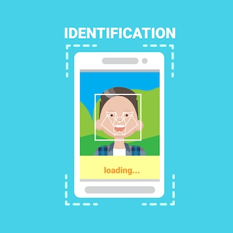 Smart phone loading face identification system scanning man user access control modern technology