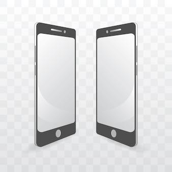透明な背景にスマートフォンのモノクロテンプレートベクトルイラスト。