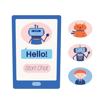 Smart phone screen showing chat with a technical assistance bot and three variants of other chatbots