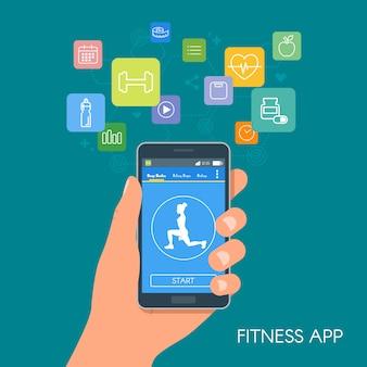 アイコンを持つスマートフォンスポーツアプリ。フィットネスモバイルアプリケーションの概念。