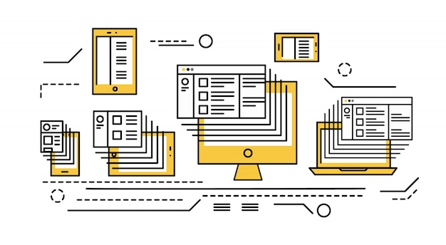 Smart phone, tablet, laptop and desktop computer. responsive web design and big data.  flat thin line design elements. vector illustration