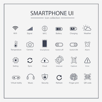 Smart phone user interface icon collection set.