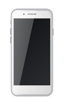 검은 화면이 흰색 배경에 고립 된 스마트 전화. 프리미엄 벡터