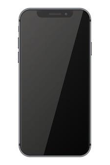 Смартфон с черным экраном на белом фоне.