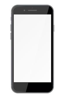 Умный телефон с пустым экраном, изолированным на белом фоне.