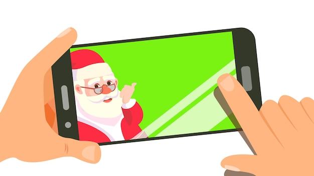 Smart phone with cute santa