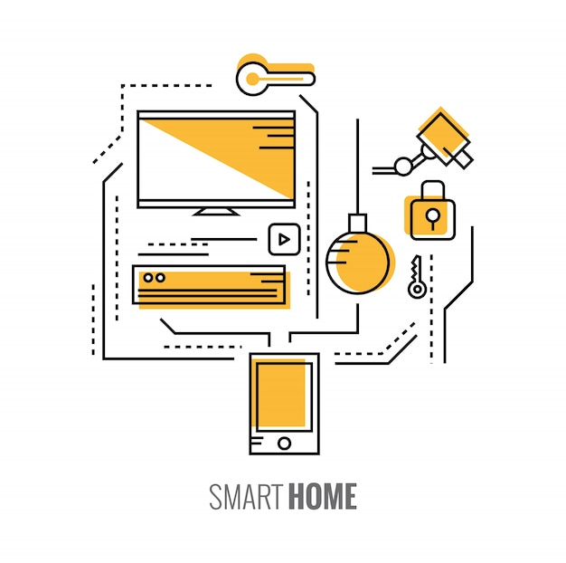 홈 제어 애플리케이션이있는 스마트 폰. 스마트 홈 개념. 평면 선 디자인 요소. 벡터 일러스트 레이 션