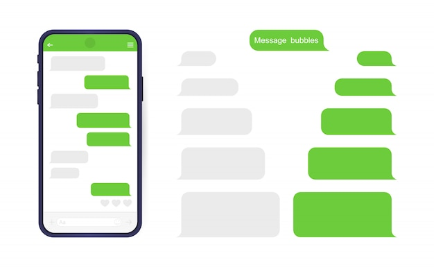Smart phone with messenger chat screen. sms template bubbles for compose dialogues.