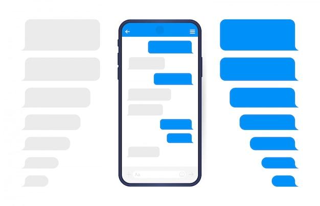 메신저 채팅 화면이있는 스마트 폰. 편지 쓰기 대화 상자를위한 sms 템플릿 버블. 현대적인 평면 스타일