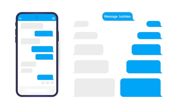 메신저 채팅 화면이있는 스마트 폰. 편지 쓰기 대화 상자를위한 Sms 템플릿 버블. 프리미엄 벡터
