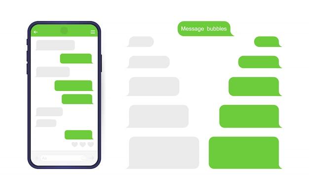 메신저 채팅 화면이있는 스마트 폰. 편지 쓰기 대화 상자를위한 sms 템플릿 버블.