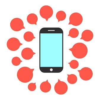 연설 거품의 세트와 함께 스마트 폰입니다. 문자 메시지 전자 메일, 대화, 의사 소통, 스팸, 통신의 개념. 흰색 배경에 고립. 플랫 스타일 트렌드 현대적인 디자인 벡터 일러스트 레이 션