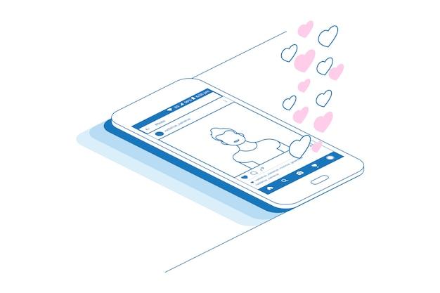 소셜 응용 프로그램 및 소셜 프로필이있는 스마트 폰.