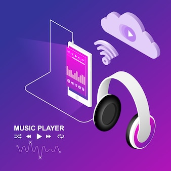Smart phones and headphones isometric design