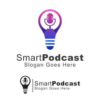 Smart podcast logo, speech logo , bulb with mic logo concept,  template