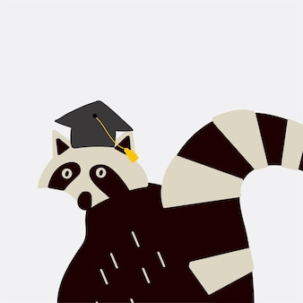 Smart raccoon wearing a graduation hat vector