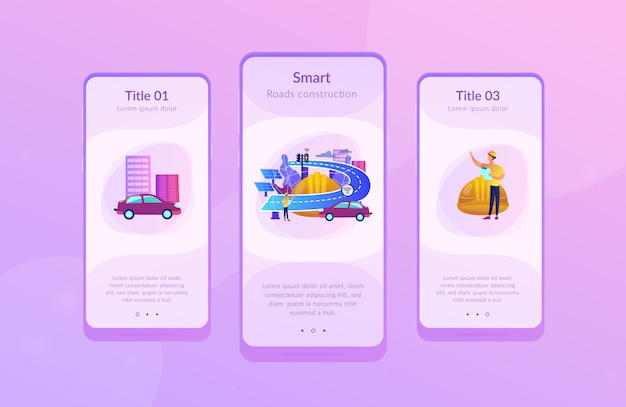Smart roads construction app interface template.