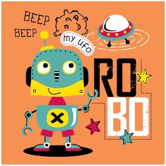 Smart robot and ufo funny animal cartoon, illustration