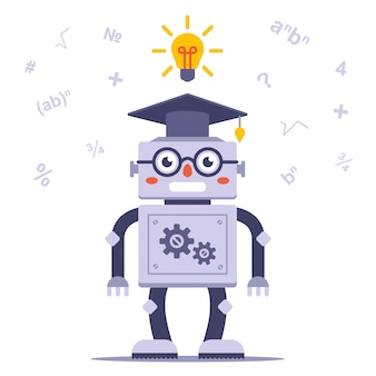Smart robot with glasses solves the problem. flat character vector illustration.