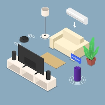 Smart room with different devices and furnitures