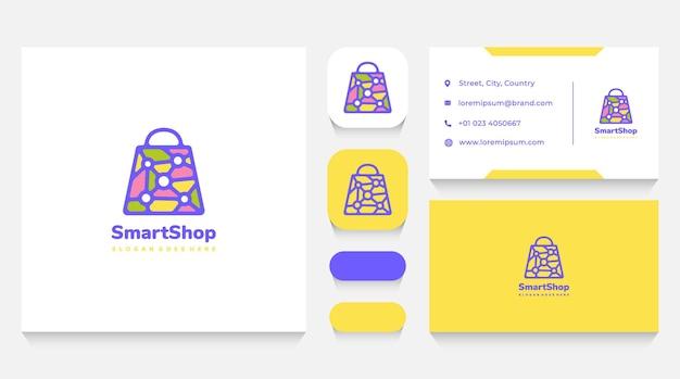 Smart shop bag logo template and business card