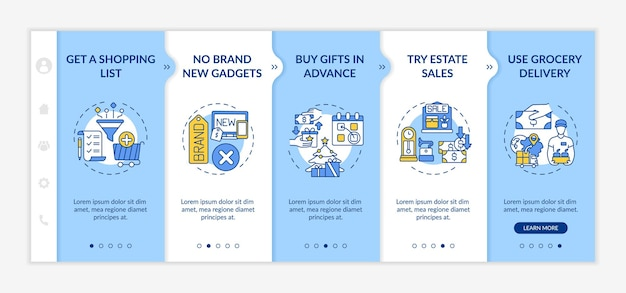 Smart shopping advices onboarding  template. creating shopping list, trying estate sales. responsive mobile website with icons. webpage walkthrough step screens. color concept
