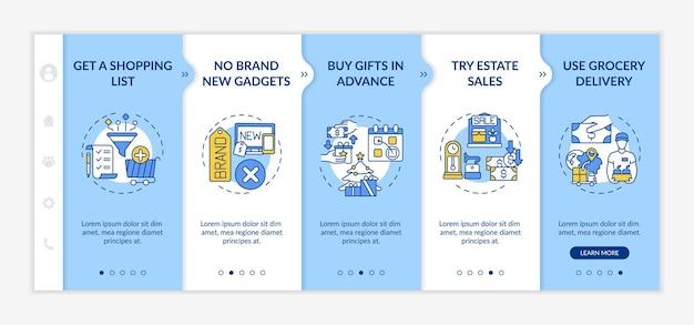 스마트 쇼핑 조언 온 보딩 템플릿. 쇼핑 목록을 만들고 부동산 판매를 시도합니다. 아이콘이있는 반응 형 모바일 웹 사이트. 웹 페이지 안내 단계 화면. 색상 개념