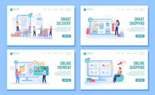 Smart shopping, order, delivery landing page set