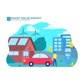 스마트 태양 에너지 평면 그림 벡터 녹색 무선 엔지니어링