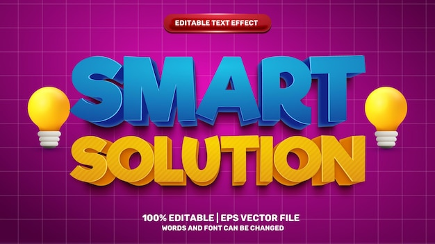Smart solution editable text effect for cartoon comic game title style template on yellow background