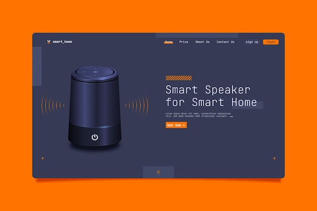 Smart speaker for home landing page template