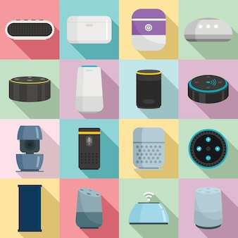 Smart speaker icons set, flat style