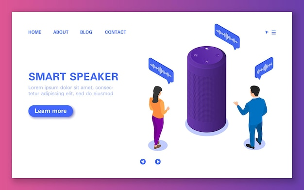 Smart speaker landing page. voice assistant that conducts a dialogue with people.
