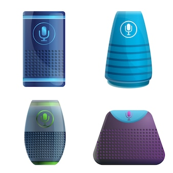 Smart speaker set, cartoon style