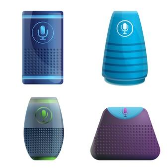 Smart speaker set, cartoon style