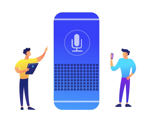 Smart speaker and two businessmen vector illustration.