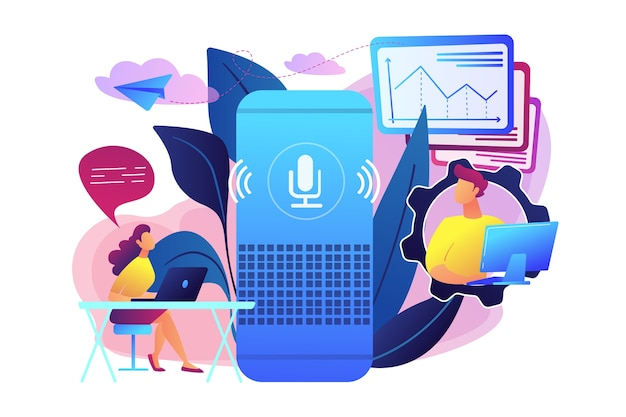 Smart speaker used by office workers illustration