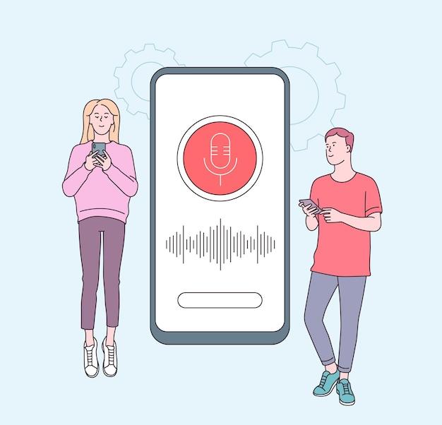 스마트 스피커, 캐릭터가있는 음성 어시스턴트 개념. 스마트 폰 근처 가제트와 젊은 사람들. 스피커 인식, 음성 제어 스마트 스피커. 음성 활성화 디지털 비서