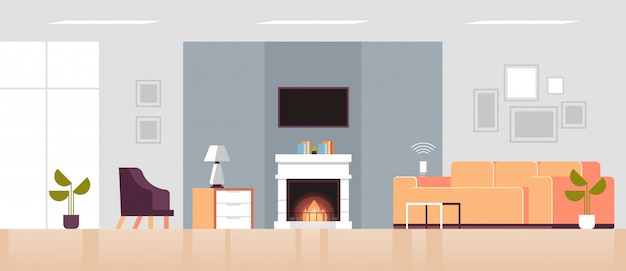 Smart speaker voice recognition activated digital assistant smart home concept