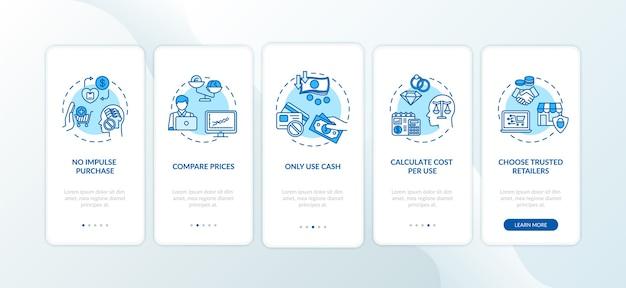 コンセプトを備えたモバイルアプリページ画面のオンボーディングに関するスマートな支出のヒント