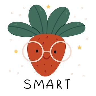 Smart strawberries in glasses Premium Vector
