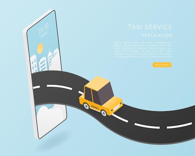 Умное такси концепция службы онлайн-такси плоский изометрический вектор с картой автомобилей такси и смартфоном векторные иллюстрации