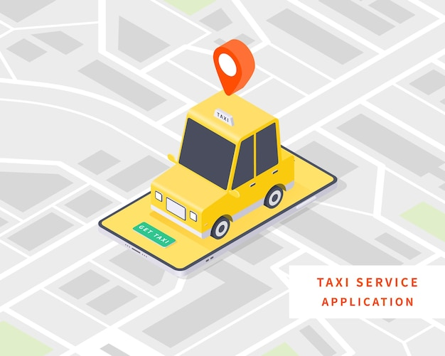 Smart taxi online taxi service concept flat isometric vector with taxi car map and smartphone vector illustration
