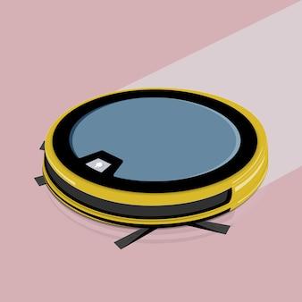 Умные технологии. робот пылесос на белом полу. иллюстрации.