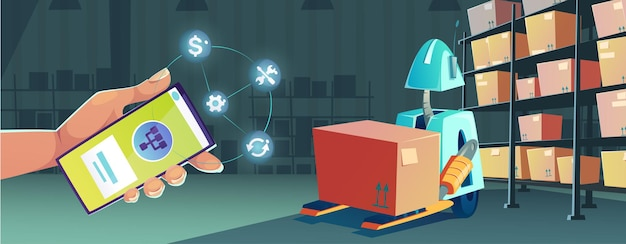 Smart technologies in warehouse with smartphone app for control robot vector cartoon illustration of...