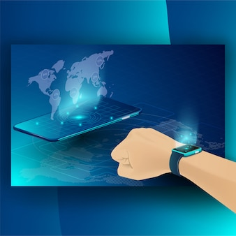 スマートテクノロジーと暗号通貨とブロックチェーンアイソメトリックコンセプト