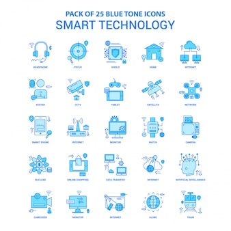 Smart technology blue tone icon pack